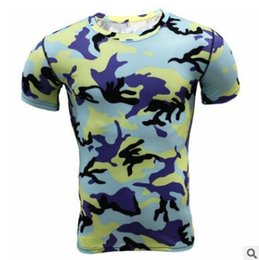 Wholesale New Base Layer Camouflage T Shirt Fitness Clothing Tights Quick Dry Camo T Shirts Tops Tees Crossfit Compression Shirt