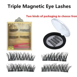 Wholesale 4pcs set Tri Magnetic Eye Lashes D Eyelashes Handmade D Magnet Eyelashes models Two packages for choice