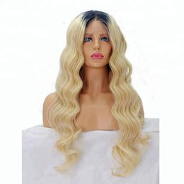 $enCountryForm.capitalKeyWord Australia - On sale best 100% unprocessed raw virgin remy human hair long #613 ombre color body wave full lace cap wig for women