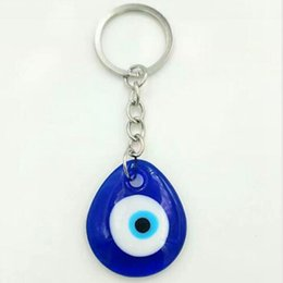 $enCountryForm.capitalKeyWord NZ - HOT 10pcs Lot Vintage Silver Turkish teardrop blue Glass evil eye Charm Keychain Gifts Fit Key Chains Accessories Jewelry A29