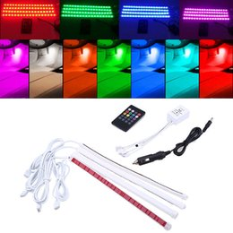 $enCountryForm.capitalKeyWord Australia - 4 in1 Car Auto Interior Wireless Remote Voice Music RGB Control 16 Colors Strip Decorative LED Light Car Styling Atmosphere Lamp