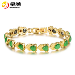Discount womens gold charm - Gold Color healthy care magnet Bracelet Unique heart Opal Stone Heart Bangle Bracelets for Womens Charming gift Yiwu Jew