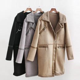 long suede vest 2019 - Suede Faux Fur Jacket Women Fashion Long Sleeve Jacket Women Elegant Faux Fur Long Coat Streetwear Female Ladies JAE03 c