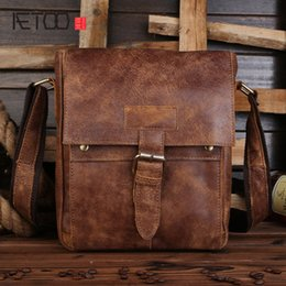 Discount sand tote - AETOO First layer of leather shoulder bag diagonal package sanding skin