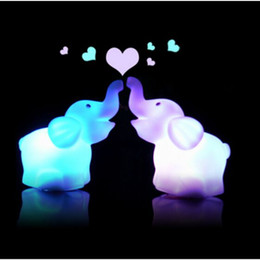 Wholesale Seven Color Changeable Led Cartoon Elephant Night Lights Lamp Kids Birthday Gifts Flash Toy Decoration Lights