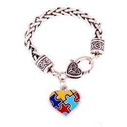 autism awareness charms NZ - Autism Awareness Puzzle Piece Fashion Enamel Heart Shape Charm 15cm20cm24cm(Pick Your Size) Lobster Claw Bracelet Jewelry