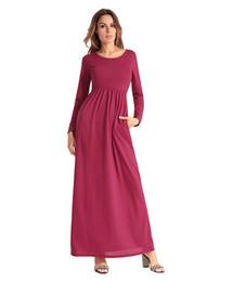 4b3d3cf028c926 Hülsen-beiläufiges Kleid-reizvolles Kleid der langen Hülse 2018New Frauen  O-Ansatz langes langes Maxi Kleid S-2XL 4colors freies Verschiffen