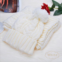 Scarf Shops Australia - Fashion Winter Unisex Hat and Scarf Cute Knit Crochet Beanies Cap Hats For Women Warm Scarf And Hat Twist Knitted Shop High