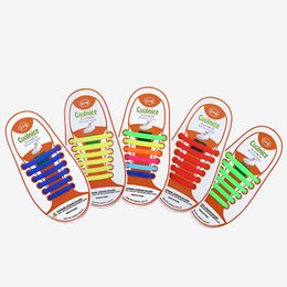 Wholesale Canvas High Shoes Australia - No Tie Silicone Shoe Laces Size for Children Elastic Athletic Flat Shoelace High Performance Replacement Accessories for Kids Sports Canvas