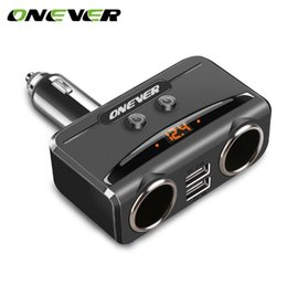 Discount 12v 24v usb adapter - Onever Car Charger 3.1A Dual USB Smart Fast Charge For iPhone iPad Samsung 12V-24V Car Cigarette Lighter Adapter Charger