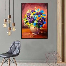 Flower Oil Paintings Australia - Hand Painted Abstract Still life beautiful flowers oil painting on Canvas Modern Wall home Decor Art Picture Handmade For Sale