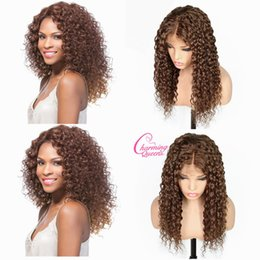 Deep Curly Indian Lace Wig Australia - Lace Front Human Hair Wigs For Black Women Natural Color #4 Pre Plucked Deep Wave Curly Brazilian Remy Hair Wigs With Baby Hair