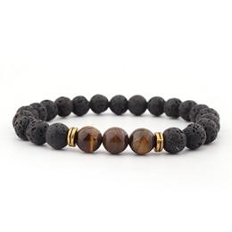 Großhandel 12 Konstellation Natürliche Schwarze Onyx 10mm Lava Tigerauge Stein Perlen Männer Armband Leo Liebhaber Energie Strang pulseras