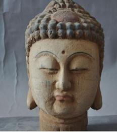 Carved wood heads online shopping - Antiques Tibet Buddhsim Old Wood Hand Carved Sakyamuni Rulai Buddha Head Statue