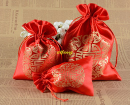 drawstring pouch 18cm UK - 50pcs lot 10x14cm 13*18cm 17*23cm RED Happiness Drawstring Bags Candy Packaging Bag Wedding Favor Pouch Jewelry Gift Bag