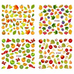 Discount strawberry pack - 4 PACKS   LOT FULL COVER FRUIT APPLE PEAR BANANA STRAWBERRY CHERRY NAIL TATTOOS STICKER WATER DECAL NAIL ART C044-047