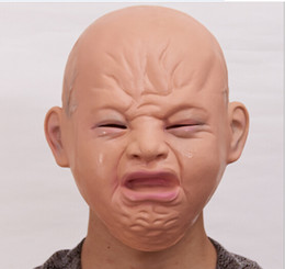 baby head mask 2019 - 2018 new in toys Realistic crying baby full head baby crying face mask practical joke headgear Halloween party