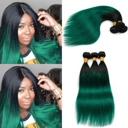 dark green hair extensions 2019 - Ombre Pre-colored 100% Human Hair OT Dark Green Color 10-26 Inch Remy Malaysian Straight Hair Extension Weave Straight T