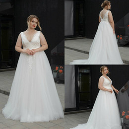b43ba020e15 Red dRess fat women online shopping - 2019 Plus Size Wedding Dresses V Neck  A Line