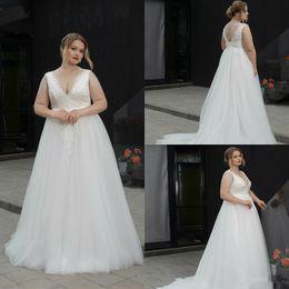 Discount fat size wedding dresses - 2019 Plus Size Wedding Dresses V Neck A Line Floor Length Fat Women Lace Wedding Dress Backless Appliques Custom Made Br
