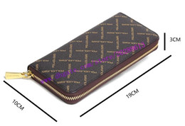 Brown Plaid Wallet NZ - Top Quality Brown Plaid Canvas Coated Real Leather Lady ZIPPY WALLET N60046 N41661 Women Single Zipper Long Wallet