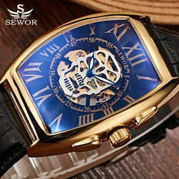pirates watches 2018 - SEWOR Brand Gold Pirate Skull Automatic Mechanical Watch Men Leather Skeleton Watch Steampunk Men Wristwatch Relogio Mas