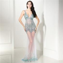 See Through Prom Dresses Rhinestones NZ - Rhinestone luxury evening dresses see through trumpet tulle AB beading sexy women party dress diamond prom dress