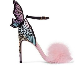 e4b1eba6f Pink Feather Stiletto Heels Women Pumps Butterfly Wings Bridal Wedding Shoes  Ankle Buckle Strap High Heels Sandals