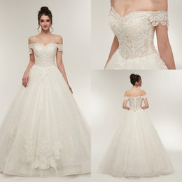 $enCountryForm.capitalKeyWord NZ - New Elegant Off the Shoulder Corset Wedding Dresses 2018 Lace Appliques Tulle Bridal Gowns With Lace up Back cps936