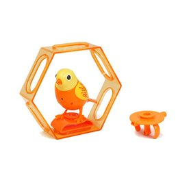 Whistle Toy Bird Wholesale UK - Electric Bird Talking Parrot Birds Intelligent Pets Sound Whistle Induction Concert Bird with Cage Kids Toys For Children