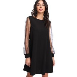 3837eee7e0cc Europe Elegant Womens Dresses Pearl Beading Mesh Long Sleeve Tunic Dress  O-Neck Long Sleeve A Line Dress Black Red C3334