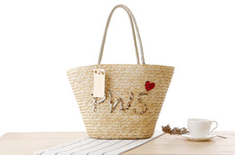 straw hands bag Australia - Wholesale 2018 European and American fashion hand embroidered sequins letter shoulder straw bag Summer photo woven bag Beach casual handbag