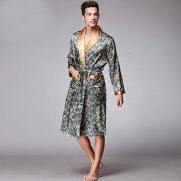 Blue Male Silk Kimono Bath Robe Gown Chinese Men s Rayon Nightwear  Turn-Down Collsr Sleepwear Loose leisure bathrobe home wear d9e7e7b6e