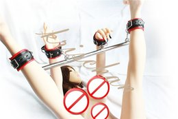 Metal Handcuffs Wrists Ankles NZ - Stainless Steel Metal Adjustable Spreader Bar Bondage Set Unisex Sex Slave Handcuffs Ankle Cuffs Fetish Restraints Shackles