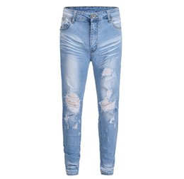 dfdd76bfdd1 2018 New Arrivals Blue holes jeans mens denim Ripped jeans Pencil Pants  jogger damage distressed ripped skinny Casual