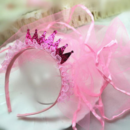 headband veil princess Australia - 2018 Children Girls Princess Lace Gold Crown Headband Tiara With Long Pink Veil Hair Band Kids Headwear Party Hair Accessories