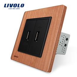 Outlet wOOd online shopping - Livolo EU standard Cherry Wood Panel Two Gang USB Plug Socket Wall Outlet VL C792U