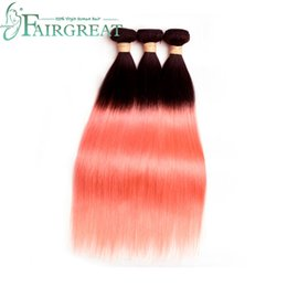 Chinese  Fairgreat Pre-Colored T1B  Rose Gold Color Remy Hair Brazilian Straight 3 Bundles Lot Ombre Human Hair Extensions Weave Bundles manufacturers