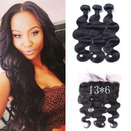 brazilian virgin hair body wave frontal 2019 - 13*6 Virgin Lace Frontal Closure With Mongolian Body Wave Hair Bundles 4pcs Lot Natural Color 100% Human Hair Extensions