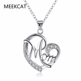 wholesale christmas gift ideas 2019 - Top qualitly Love Mom Gift Great Mama Heart Pendant Necklace Silver Plated Jewelry mother day gift ideas For Mother MUM