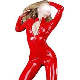 ingrosso sguardo bagnato catsuit-Fashion Women Red Latex Catsuit Sexy Wet Look Un pezzo in gomma Corpetto Plus Size Skinny Latex adulto Clubwear LC147