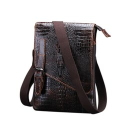 Discount leather cell phone patterns - DCOS Casual men bags male crocodile pattern flap bag Shoulder Crossbody bags Handbags Messenger small men Leather bag
