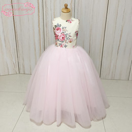 Blue Print Pictures NZ - Pink Little Flower Girls' Dresses Real Picture 2018 Ball Gown Print Flowers Bow Tulle Little Girls' Party Dresses