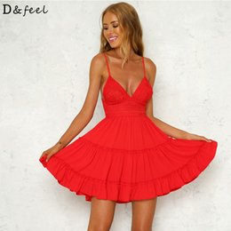 $enCountryForm.capitalKeyWord Australia - Summer Backless Sexy Mini Party Holiday Tank Dress 2018 Deep V Neck Beach Strapless Plus Size Bow Lace Sundress White Black Pink