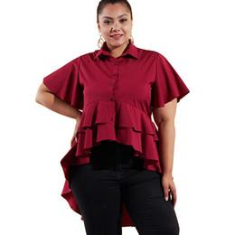 Polyester Blouse Ruffles NZ - Women 4XL Plus Size Blouse Solid Color Asymmetric Tiers Hemline Ruffle Autumn Tunic Tops Short Sleeve Buttons Elegant Shirt 2018
