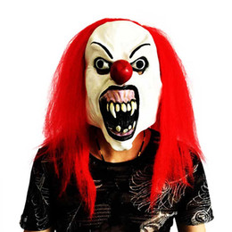 scary adult clown costumes 2019 - Red Hair Scary Latex Clown Costume Party Mask Dress Funny Cosplay Joker Clown Masks Halloween Masquerade Parties Props c