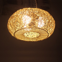 Chinese  Modern LED Round Rattan pendant lamp Art Deco e27 Pendant Light Hand Knitted Weaving Hanging Lamp For Living Study Hotel G033 manufacturers