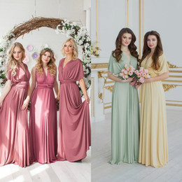 Discount wedding colors silver coral - Cheap Different Colors V Neck Bridesmaid Dresses Short Sleeve Satin Floor Length Plus Size Wedding Guests Gowns Evening