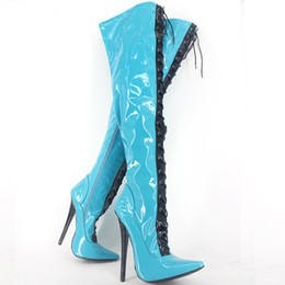 Real Sexy Pictures NZ - 2018 Sexy Sexual Fashion High-heeled Pointed Patent Leather Over Knee Boots real picture High Heel Large Size Boots