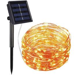 Ingrosso 100 LED Solar Power String Luce Filo di rame Fata Lampada Decorazioni per feste di Natale